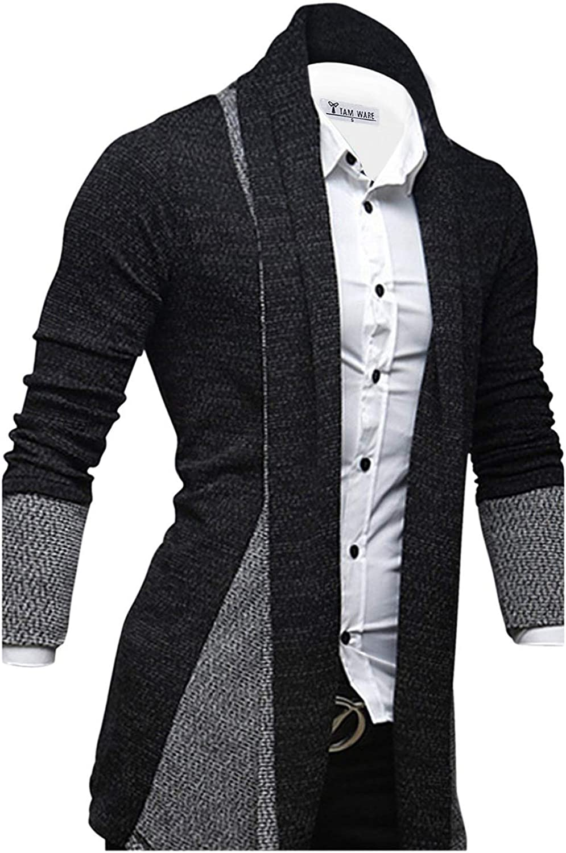 TAM WARE Mens Classic Fashion Marled Open-Front Shawl Collar Cardigan