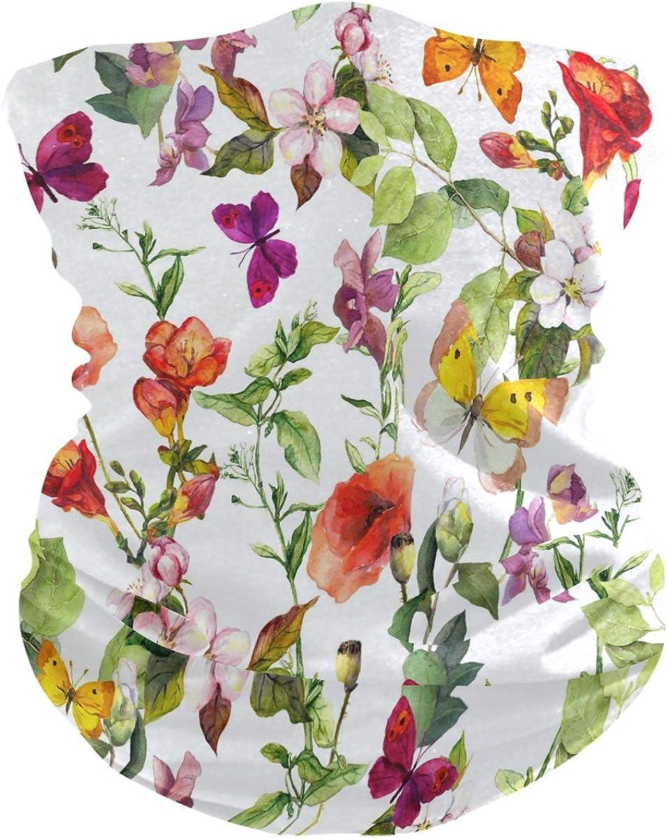 ALAZA Summer Flower Butterfly Watercolor Headwear Magic Scarf Headband Bandana Neck Gaiters Outdoor Sports for Women Man