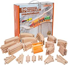 56 Piece Wooden Train Track Expansion Pack with Tunnel Compatible Thomas Wooden Railway Brio Chuggington Imaginarium Set by Orbrium Toys.