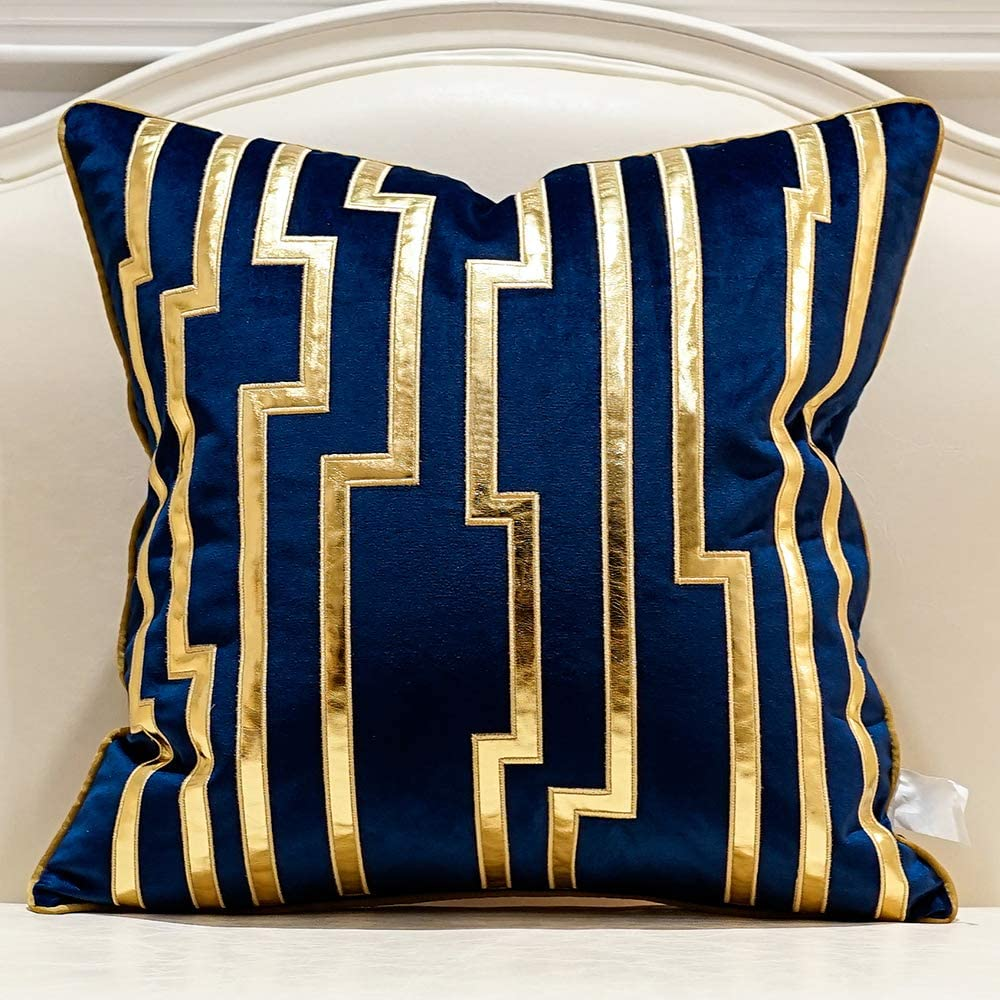 Super beauty Recommended product restock quality top Avigers 20 x Inches Navy Blue Cushion Ca Striped Gold Leather