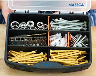 Massca Hardware Box Storage. Hinged Box Made of Durable Plastic in a Slim Design with 10 compartments. Excellent for Screws Nuts and Bolts.