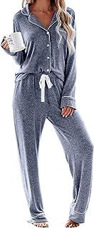 HAPPY SAILED Women Button Down Pyjamas Set Cosy Nightwear V Neck Sleepwear