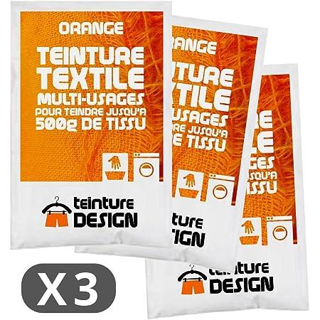 Juego de 3 bolsas de tinte textil para ropa y telas naturales, color naranja