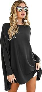LIYOHON Women's Tunic Tops for Leggings Casual Oversized Shirts Batwing Long Sleeve Loose Fitting Lounge Tops Tunics