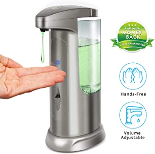 Hanamichi Soap Dispenser, Touchless High Capacity Automatic Soap Dispenser Equipped w/Infrared Motion Sensor Waterproof Base Adjustable Switches Suitable for Bathroom Kitchen Hotel Restaurant