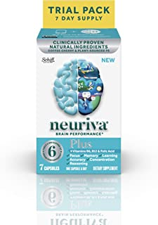 Brain Support Supplement - NEURIVA Plus (7 count in a bottle), Plus B6, B12 & Folic Acid, Supports 6 Indicators Of Brain P...
