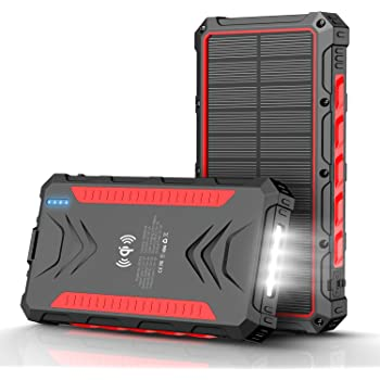 Solar Power Bank 30000mAh, Solar Charger, Qi Wireless Charger, Outputs 5V/3A High-Speed & 2 Inputs Huge Capacity Phone Charger for Smartphones, IP66 Rating, Strong Light LED Flashlights (Red)
