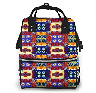 Cheerful Fractal Cheater Multi-Function Travel Backpack Nappy Bag,Fashion Mummy Bag