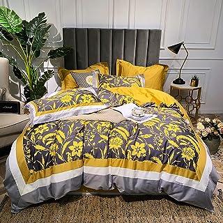 Double Duvet Covers Set Cotton, Duvet Cover Set Bedding Set 4 Pieces 100% Egyptian Cotton Floral, Duvet Covers Set Include Quilt Cover 220×240CM +1 Flat Sheet 245×270 CM+2 Pillowcases