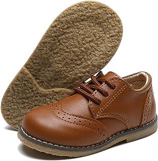 E-FAK Toddler Baby Boys Loafer Shoes Soft PU Leather School Uniform First Walker Outdoor Dress Flat کفش تخت (کودک نو پا / کوچک بچه)