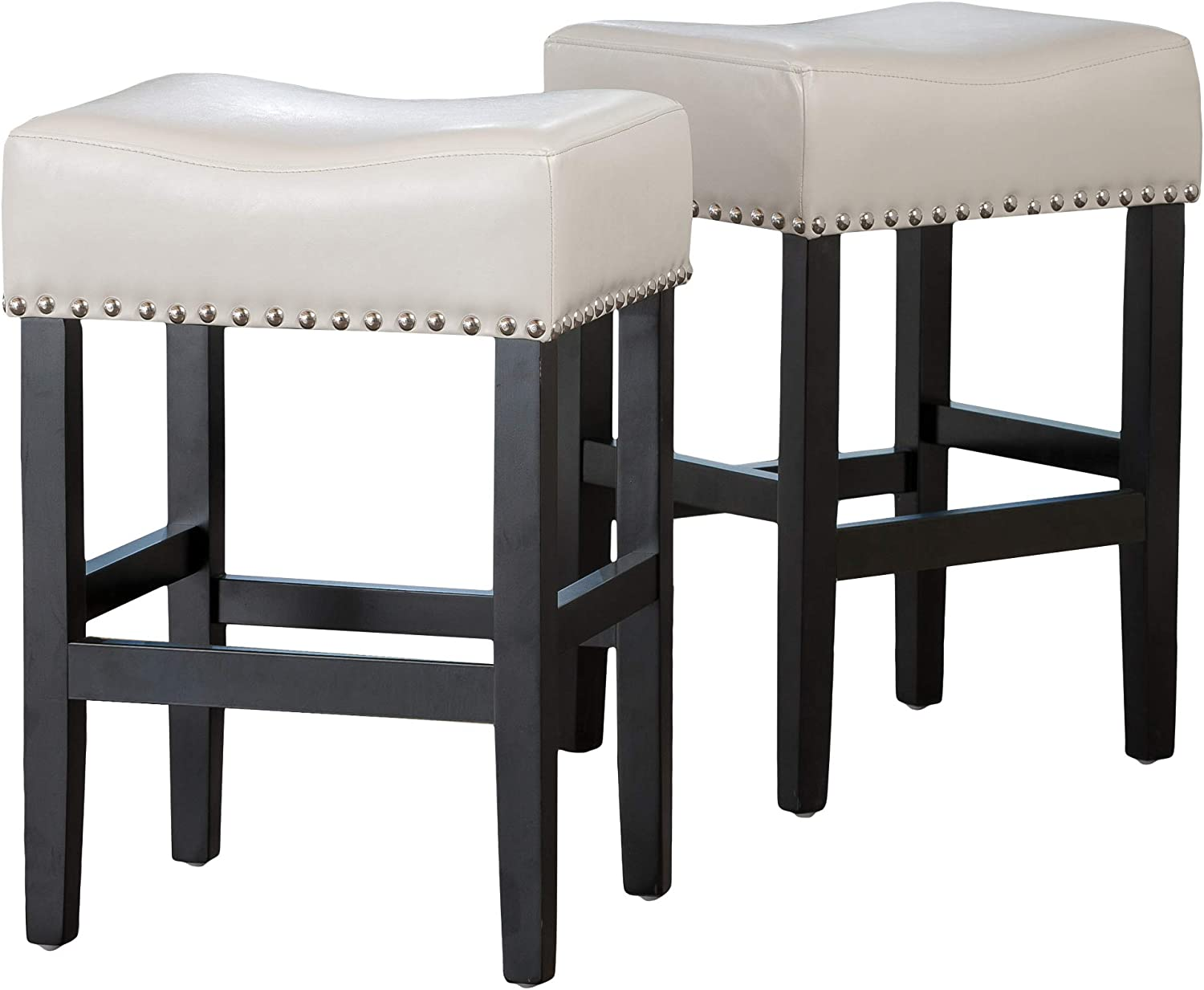 Christopher Knight Home Lisette Backless Leather Counter Stools, 9 Pcs Set,  Ivory