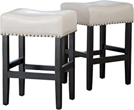 Christopher Knight Home Chantal Backless Ivory Leather Counter Stools wChrome Nailheads, 18.00''W x 15.50