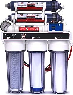 LiquaGen - 6 Stage Reverse Osmosis + Deionization (RO/DI) Water Filter System w/Glycerin Filled Pressure Gauge - 100 GPD