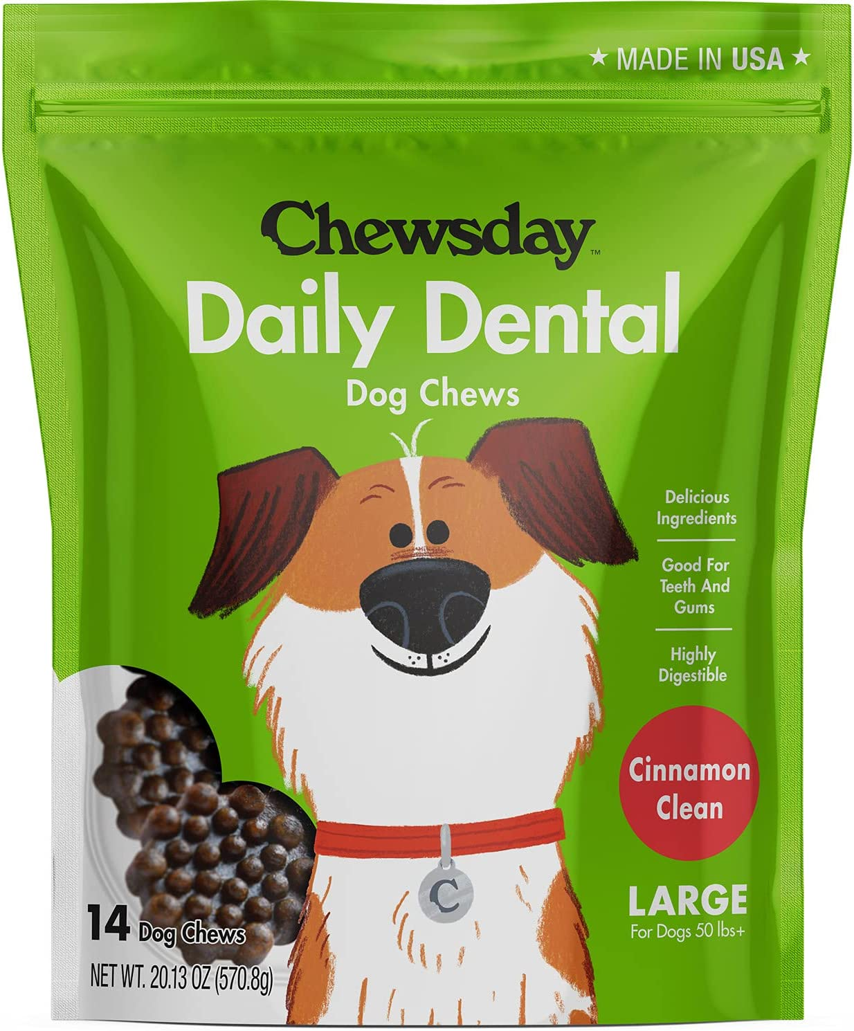 Chewsday Cinnamon Clean Daily Dental Dog Chews, Large, 14 Count