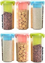 Yellow Leaf Products Storage Jar with 3 Section (Set of 6-1500 ml Each) | Plastic AIRtight Dispenser Container Jar | (Colo...