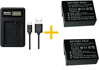 2 piezas Batería PAN BLC12 DMW-BLC12 de 1800 mAh con cargador de batería LCD individual para Panasonic Lumix FZ1000 FZ200 FZ300 G5 G6 G7 GH2 DMC-GX8 (2 pcs battery with charger)