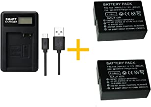 2 piezas Batería PAN BLC12 DMW-BLC12 de 1800 mAh con cargador de batería LCD individual para Panasonic Lumix FZ1000, FZ200, FZ300, G5, G6, G7, GH2, DMC-GX8 (2 pcs battery with charger)