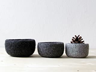 3 Wool nesting bowls - Felted bowl - Organic eco-friendly - ombré grey - minimalist decor