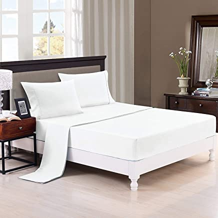 Authentic Heavy Quality Super Soft Bed Sheets 1200-Thread-Count Egyptian Cotton 4-Pieces Sheet Set Fits 13-15 inch Deep Pocket,  Solid Pattern ( Queen Size,  White ) Satisfaction Guarantee