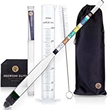 Brewer's Elite Hydrometer & Test Jar Combo, Hardcase, Cloth - Triple Scale Specific Gravity ABV Tester- for Wine, Beer, Mead and Kombucha