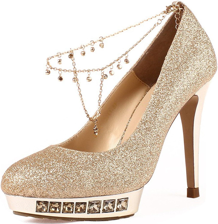 YooPrettyz Women Sparkle Sequined Evening Heels Dress Pumps Wedding shoes gold Platform High Heels