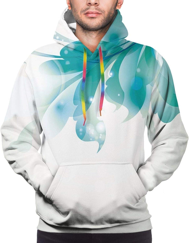 Men's Hoodies Sweatshirts,Big Set of Watercolor Floral Elements Herbs and Leaves Pastel Botanical