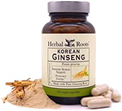 Herbal Roots - Panax Ginseng - Extra Strength 1000mg Supplement - Organic Korean Ginseng Root Powder - 60 Vegan Capsules -...