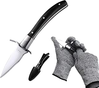 Oyster Shucking Knife Stainless Steel With High Performance Protection Food Grade Cut Resistant Gloves, Easy To Shucking Oysters(Black)