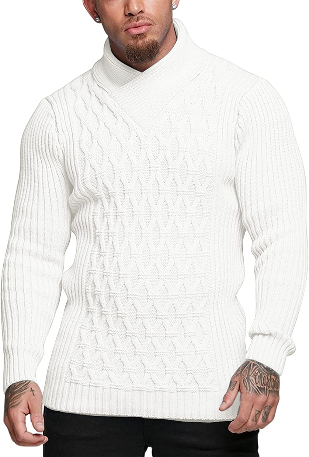 COOFANDY Mens Knitted Pullover Sweater Cable Knit Jumper Stylish Knitwear Lightweight Sweaters