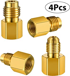 4 Pieces 6015 R134A Brass Refrigerant Tank Adapter to R12 Fitting Adapter 1/2 Female Acme to 1/4 Male Flare Adaptor Valve Core and 6014 Vacuum Pump Adapter 1/4 Inch Flare Female to 1/2 Inch Acme Male