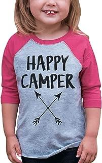 Girl's Happy Camper Outdoors Raglan Tee