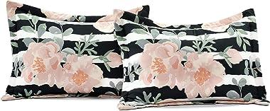 Lush Decor Amara Watercolor Rose 7 Piece Comforter , Black & Dusty Rose, King