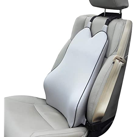 Dreamer Car Back Support Lumbar Support Pillow for Car/ Office Chair- Fast Rebound Memory Foam Back Cushion Relax Support Relieve Fatigue During Driving and Office Work- Gray