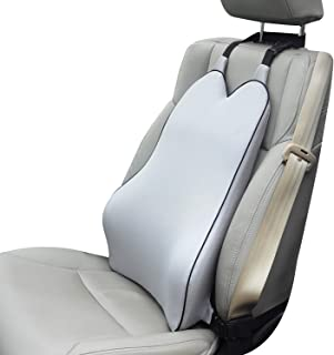 Dreamer Car Back Support Cushion with 2 Straps Designed for Car Seat,Balanced Softness High Density Memory Foam Lumbar Support Pillow with Ergonomic Streamline Designed for Sciatic Pain Relief,Gray