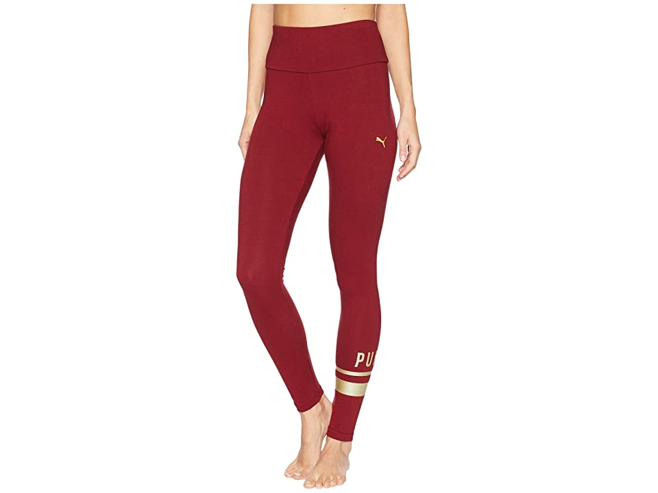 PUMA Athletic Logo Leggings (Pomegranate/Gold) Women