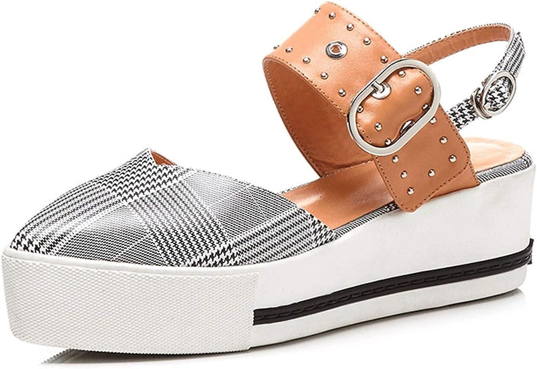 Leather Sandals Platform Women Mixed Casual Flat Women Sandals Rivet Buckle Ladies Sandals