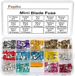 FEPITO 180pcs Mini Blade Fuse Set Assortment Car Fuses 2A 3A 5A 7.5A 10A 15A 20A 25A 30A 35A 40A for Auto Car Truck with 1...