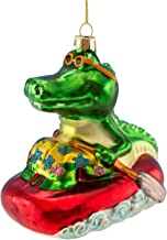 Beachcombers Cool Alligator in Life Raft Blown Glass Christmas Holiday Ornament