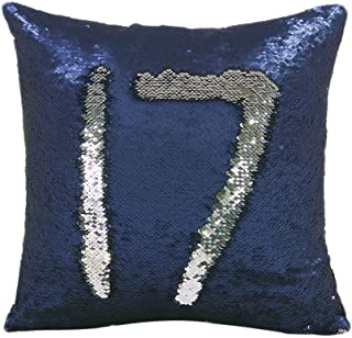 Freestyle Reversible Color Change Sequin Throw Pillow Cases Covers in Two-Tone, Navy Blue and Silver, 16x16, Creative Decorations on Sofas/ Armchairs/ Beds/ Floors/ Cars