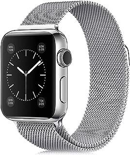 アップルウォッチバンドApple Watch Band ミラネーゼループ コンパチブル series5/4/3/2/1に対応 ステンレス留め金製 MXRFactory 磁気留め (38/40mm, シルバー)