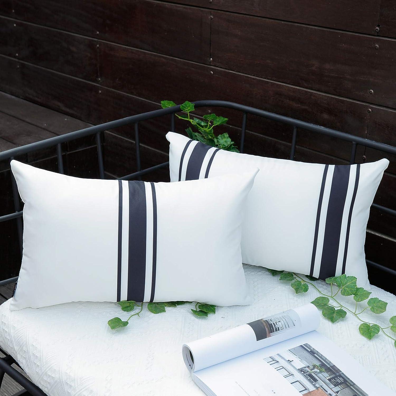 JOJOGOGO Black and White Outdoor Waterproof Lumbar Pillow Covers 12x20 Set of 2 Black Striped Decorative Pillow Case for Patio Furniture Sunbrella