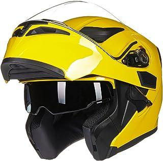 ILM Motorcycle Dual Visor Flip up Modular Full Face Helmet DOT 6 Colors (S, YELLOW)