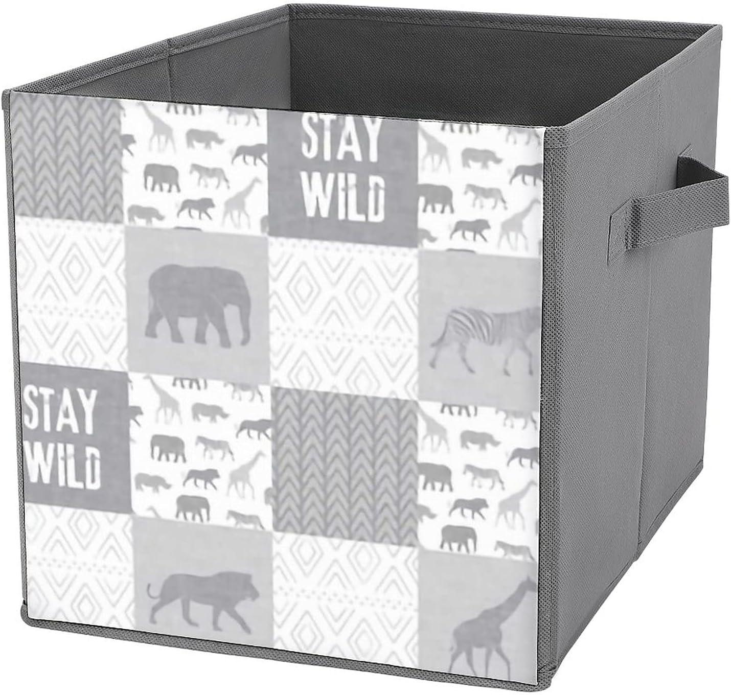 MMJUI Stay Wild Safari wholecloth Bins Folding Grey Popular products Coll Storage Max 63% OFF