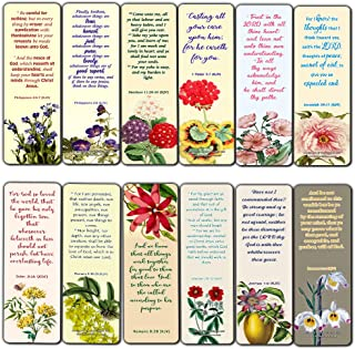 Christian Flower Bookmarks for Women Girls Tweens KJV Scriptures Series 1 (30 Pack) - Bible Verse John 3:16 Jeremiah 29:11 Joshua 1:9 Encouragement Gifts Stocking Stuffers Church Supplies VBS