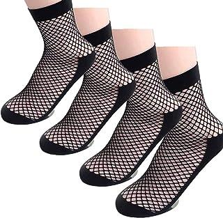 Yangyme, Yangyme Calcetines de Rejilla, Malla Encaje Sexy de Nylon Calcetines Medias Cortas Negras para Faldas, Tacones Altos, Sandalias, Tacones Altos, Zapatillas, 2 Pares