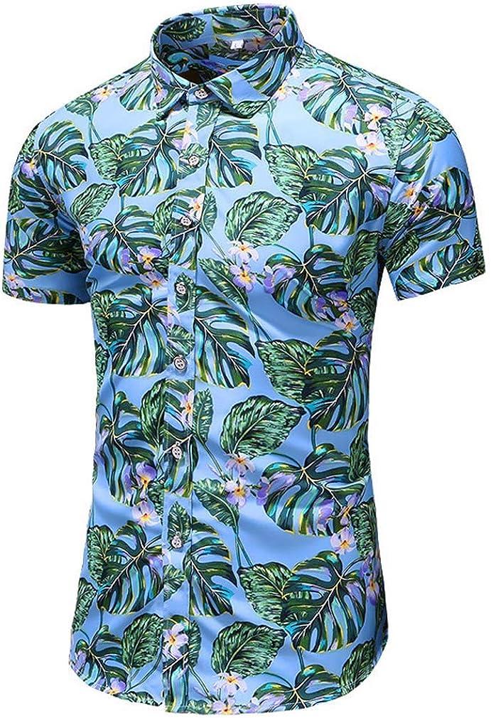 YD-zx Mens Spring Short Sleeve Hawaii Button Down Shirts Ethnic Style Collar Printed Shirt Slim Fit Dress Shirt