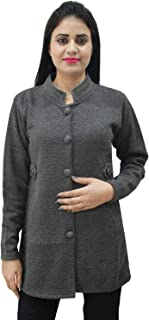 Matelco Womens Woollen Grey Buttoned Cardigan/Coat with Pockets (L)