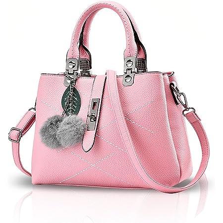 NICOLE & DORIS 2021 Neue Frauen Tasche Damen Leder Handtasche Mode Umhängetasche Mit Pompon abnehmbarem Schultergurt Handtasche Rosa