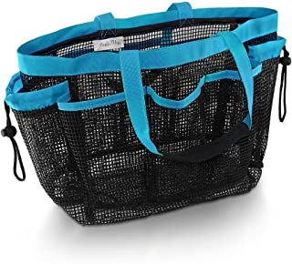 Simply Things Mesh Shower Caddy and Bath Bag Organizer Tote with 9 Storage Compartments and Two Reinforced Handles. This Mesh Shower Bag is Quick Drying for Dorm, Gym, Camping, or Travel - (Blue)