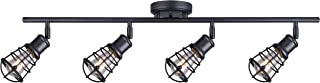 CANARM LTD IT611A04GPH Otto 4 Light Track Rail Graphite with Metal Cage Shades